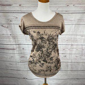 Agenda knit top with flower design Sz M